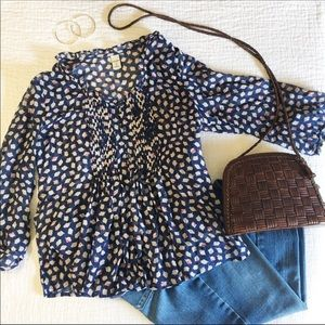 OLD NAVY | Blue Print Chiffon 3/4 Sleeve Top S